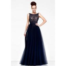 A Line Princess Bateau V Back Long Navy Blue Chiffon Beaded Evening Prom Dress
