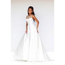 A Line Princess Illusion Neckline Low Back Long White Taffeta Evening Prom Dress
