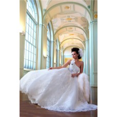 A Line Princess One Shoulder Lace Bridal Wedding Dress With Flower Sash