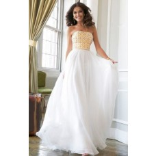 A Line Princess Strapless Long White Chiffon Gold Beaded Evening Prom Dress
