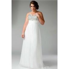 A Line Princess Sweetheart Empire Long White Chiffon Beaded Plus Size Evening Prom Dress