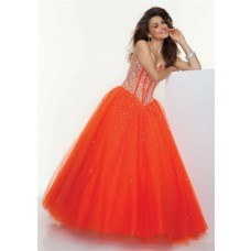 A-Line/Princess Sweetheart Floor-Length Orange Tulle Prom Dress With Beading