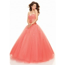 A-Line/Princess Sweetheart Floor Length coral tulle prom dress with sequins