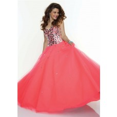 A-Line/Princess sweetheart long coral crystal prom dress