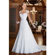 A Line Queen Anne Neckline Cap Sleeve Sheer Back Satin Lace Wedding Dress