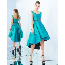 A Line Scoop Neck Jade Satin Beaded Belt High Low Party Prom Dress