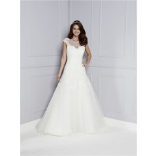 A Line Sheer Illusion Scoop Neck Cap Sleeve See Through Back Tulle Lace Wedding Dress