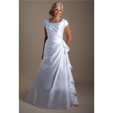 A Line Square Neck Ruched Satin Ruffle Modest Wedding Dress With Sleeves