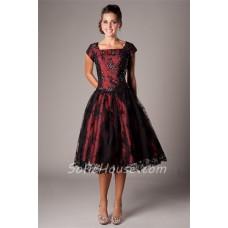 A Line Square Neck Tea Length Burgundy Satin Black Lace Modest Prom Dress