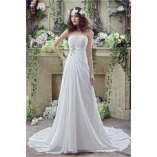 A Line Strapless Corset Back Chiffon Draped Destination Garden Wedding Dress