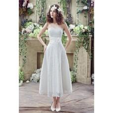 A Line Strapless Corset Back Tea Length Lace Beach Wedding Dress