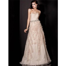 A Line Strapless Floor Length Nude Organza Evening Prom Dress With Flowers