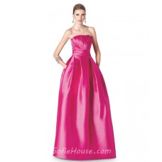 A Line Strapless Hot Pink Satin Long Occasion Prom Dress With Pockets