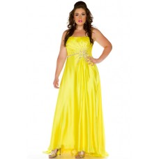 A Line Strapless Long Yellow Chiffon Beaded Plus Size Party Prom Dress