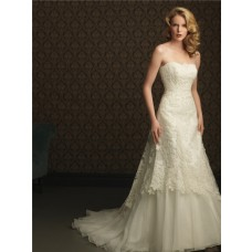 A Line Strapless Organza Lace Designer Wedding Dress With Train Buttons
