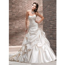 A Line Strapless Ruched Champagne Cream Colored Satin Wedding Dress With Bubble