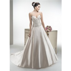 A Line Strapless Satin Beaded Wedding Dress With Detachable Straps