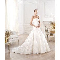 A Line Strapless Satin Wedding Dress With Buttons Lace Appliques