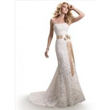 A Line Strapless Scalloped Lace Wedding Dress With Gold Ribbon Crystal