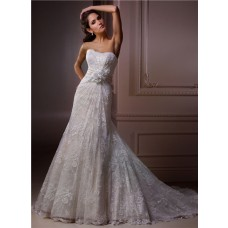 A Line Strapless Scalloped Neckline Vintage Lace Wedding Dress With Floral Sash