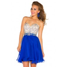 A Line Strapless Short Royal Blue Chiffon Beading Homecoming Cocktail Party Dress