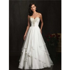 A Line Strapless Sweetheart Chiffon Ruched Beading Wedding Dress With Train