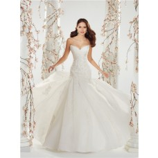 A Line Strapless Sweetheart Corset Back Draped Organza Lace Beaded Wedding Dress