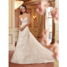A Line Strapless Sweetheart Corset Back Lace Wedding Dress With Chapel Train
