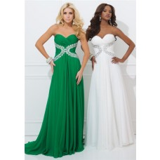 A Line Strapless Sweetheart Emerald Green Chiffon Beaded Long Homecoming Prom Dress