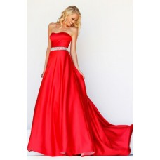 A Line Strapless Sweetheart Long Red Satin Prom Dress With Beading Belt