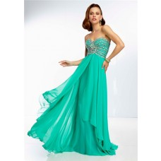 A Line Strapless Sweetheart Open Back Long Green Chiffon Beaded Prom Dress