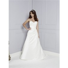 A Line Strapless Sweetheart Ruched Satin Lace Beaded Wedding Dress Buttons Court Train