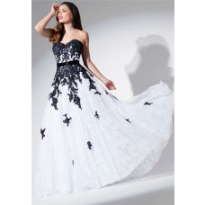 A Line Strapless Sweetheart White And Black Lace Applique Long Evening Prom Dress