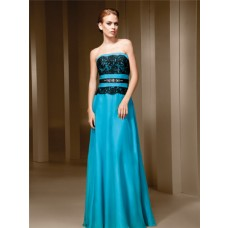 A Line Strapless Turquoise Blue Chiffon Black Lace Long Evening Dress With Crystals Belt