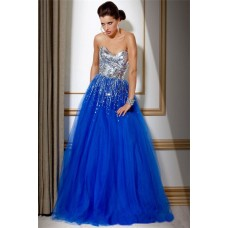 A Line Strapless long Royal Blue Tulle Sequin Evening Prom Dress