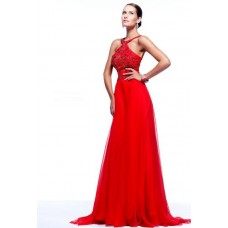 A Line Straps Low Back Long Red Chiffon Beading Evening Prom Dress