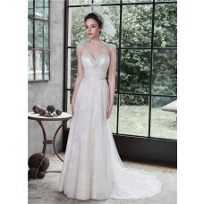 A Line Sweetheart Cap Sleeve Low Back Lace Beaded Wedding Dress Spaghetti Straps
