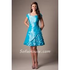 A Line Sweetheart Cap Sleeve Turquoise Blue Taffeta Prom Dress With Flowers