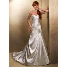 A Line Sweetheart Corset Back Glitter Ivory Satin Wedding Dress With Ruching