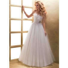 A Line Sweetheart Corset Back Pleated Tulle Wedding Dress With Feather Crystal