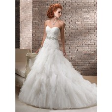 A Line Sweetheart Corset Back Tiers Tulle Wedding Dress With Crystal Belt