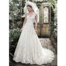 A Line Sweetheart Drop Waist Ivory Lace Corset Wedding Dress Detachable Straps
