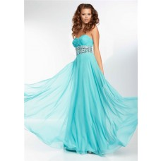 A Line Sweetheart Flowing Long Turquoise Blue Chiffon Beading Prom Dress