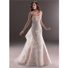 A Line Sweetheart Light Pink Lace Wedding Dress With Detachable Train Bow
