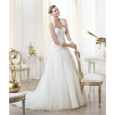 A Line Sweetheart Low Cut Back Lace Tulle Wedding Dress With Long Sleeves Jacket