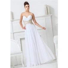A Line Sweetheart Neckline White Chiffon Applique Beaded Long Prom Dress