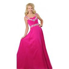A Line Sweetheart Open Back Long Hot Pink Chiffon Beaded Teen Prom Dress