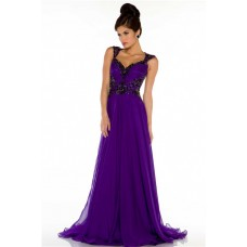 A Line Sweetheart Open Back Long Purple Chiffon Beaded Special Occasion Evening Dress