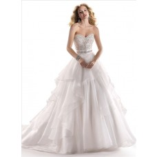 A Line Sweetheart Organza Wedding Dress With Embroidery Sparkle Crystal Sash