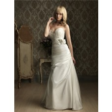 A Line Sweetheart Ruched Satin Embroidery Beading Wedding Dress With Flower Buttons